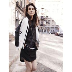 Madewell Sun Garden Black Silk Shirttail Skirt